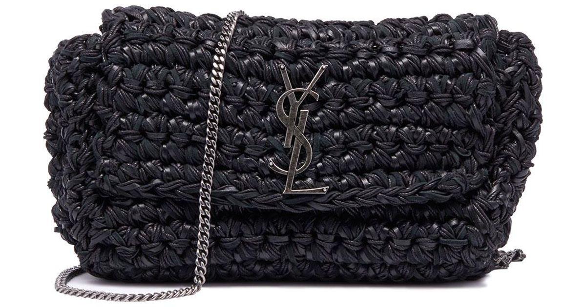 4b7eb23a Saint Laurent Black Kate Medium Ysl Monogram Raffia Crossbody Bag
