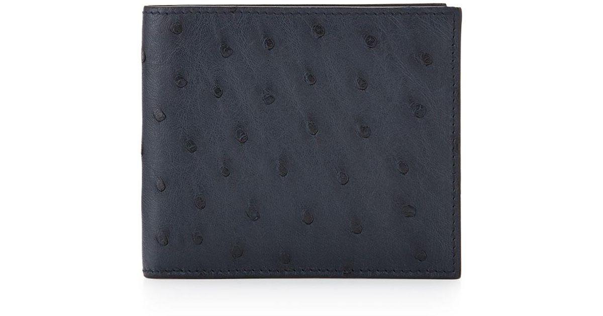 f0c3a972 Prada Gray Ostrich Bi-fold Wallet for men