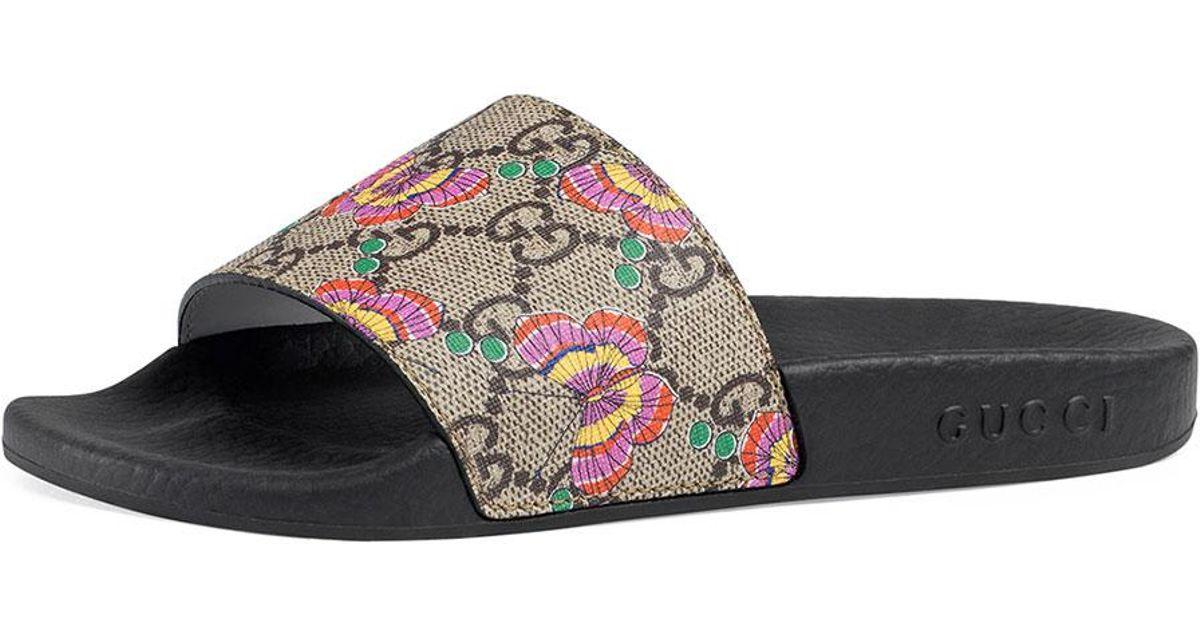 712e1fcc Gucci Natural Pursuit Butterfly-print Gg Supreme Slide Sandals