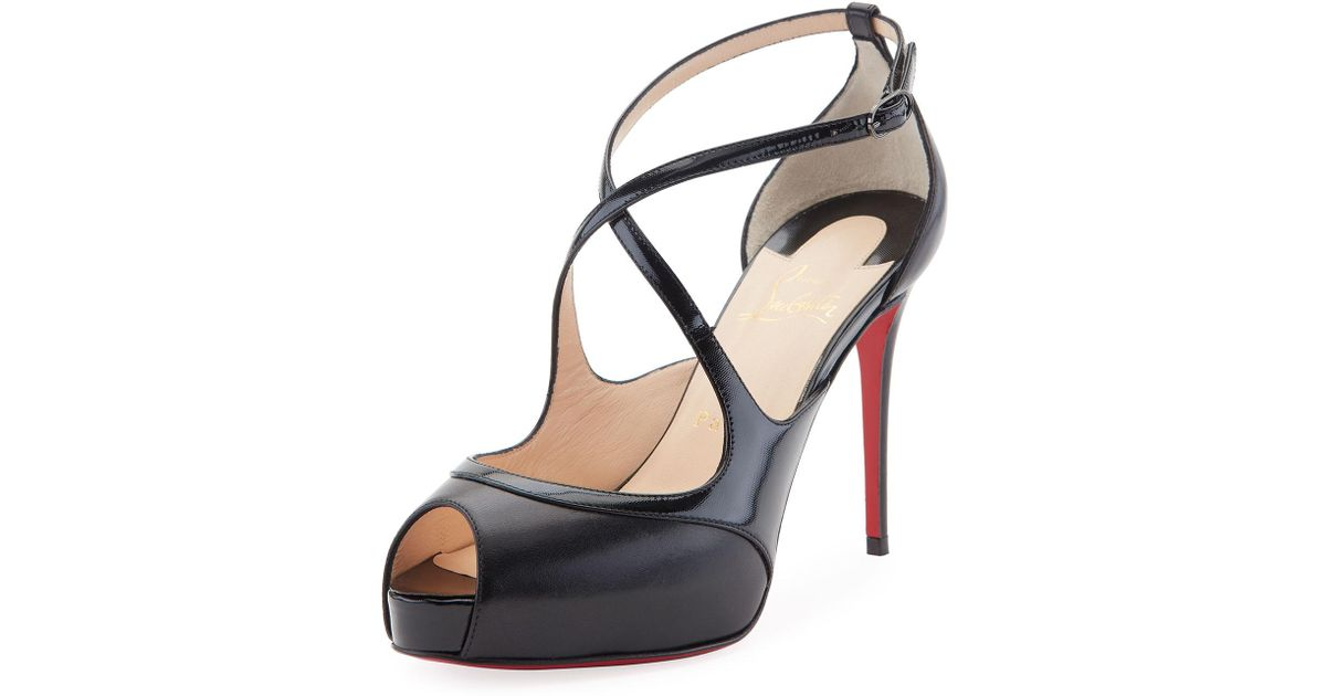 wholesale dealer 249e1 afabd Christian Louboutin Black Mira Bella Leather Red Sole Sandal