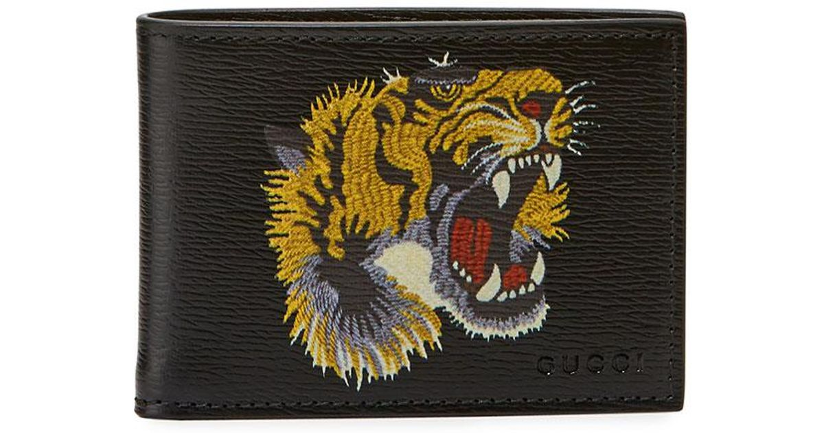 9aa8815168b6 Gucci Bestiary Embroidered Tiger Face Leather Wallet in Black for Men | Lyst  Gucci GG Supreme ...