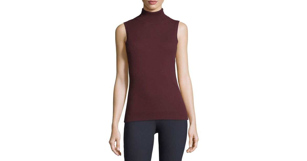 414620aac86 Lyst - Theory Cashmere Turtleneck Shell Top in Purple