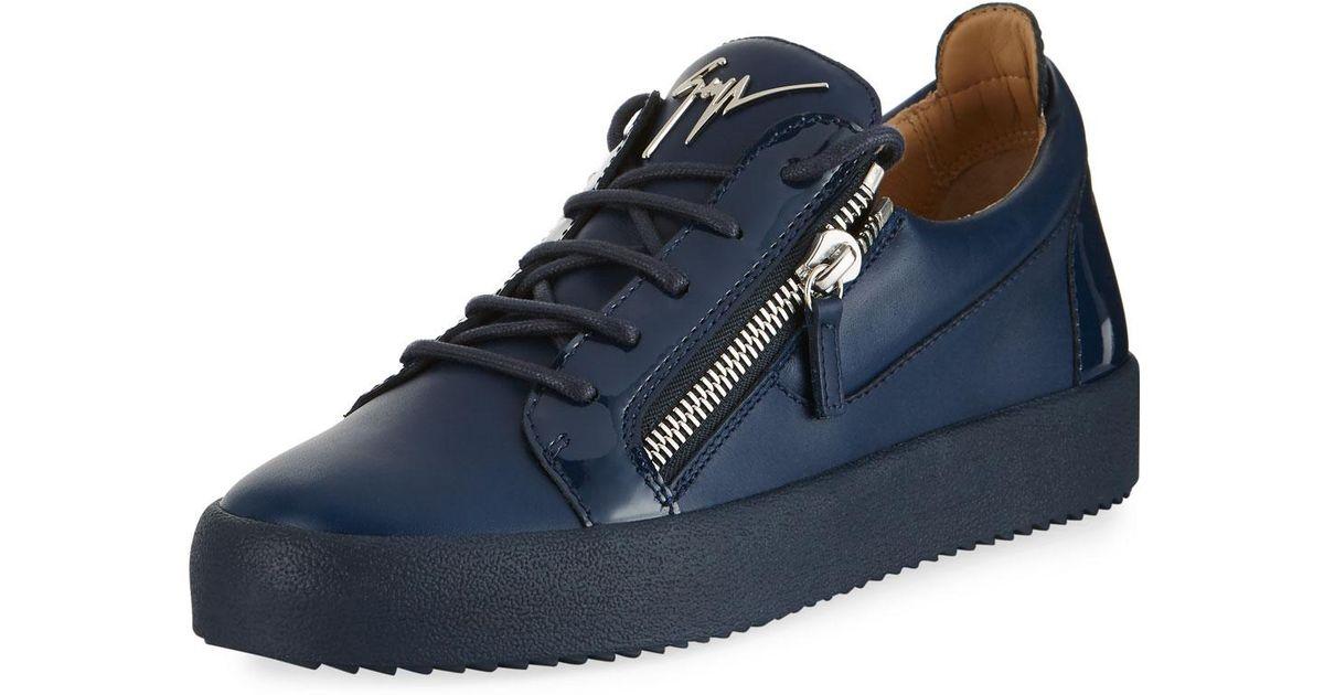 Double-zip Leather Low-top Sneaker
