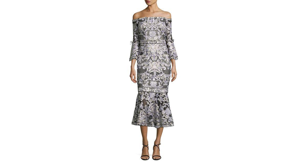 Lyst - Notte By Marchesa Off-shoulder Lace Bell-sleeve Midi Cocktail ...