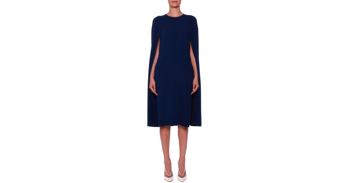 91b8e465c1ad Lyst - Stella Mccartney Cape-back Cady Sheath Dress in Blue