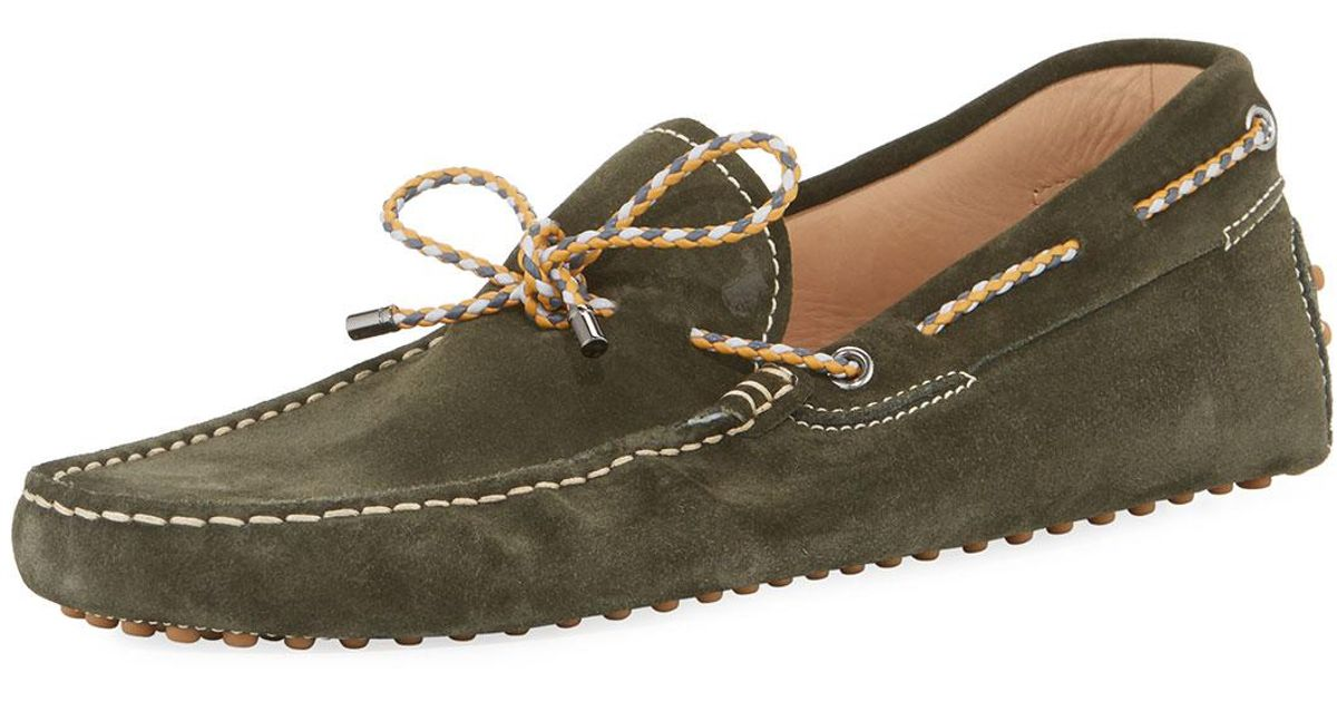 d5752e9bad8 Lyst - Tod s Gommini Suede Driver With Braided Tie Green in Green