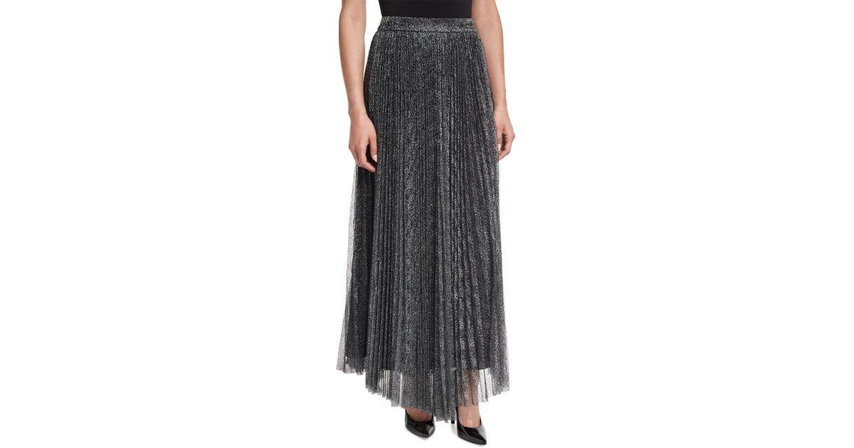 6115016a6 Lyst - Alice + Olivia Katz Metallic Pleated Maxi Skirt