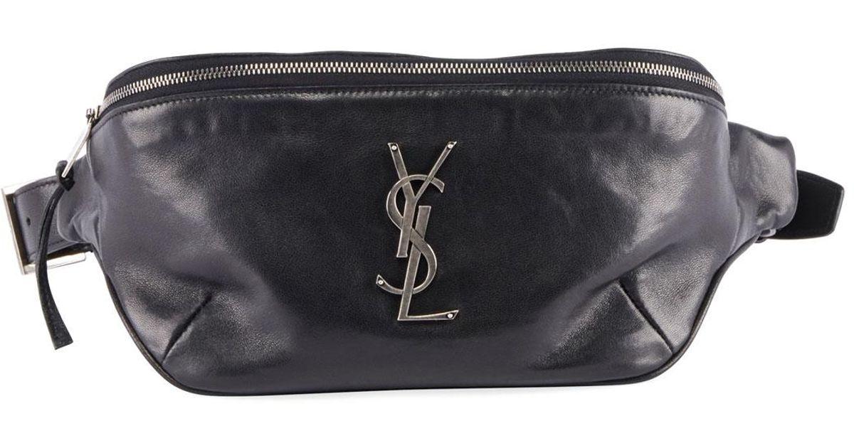 85aed27f Saint Laurent Black Ysl Monogram Curved Zip-top Belt Bag