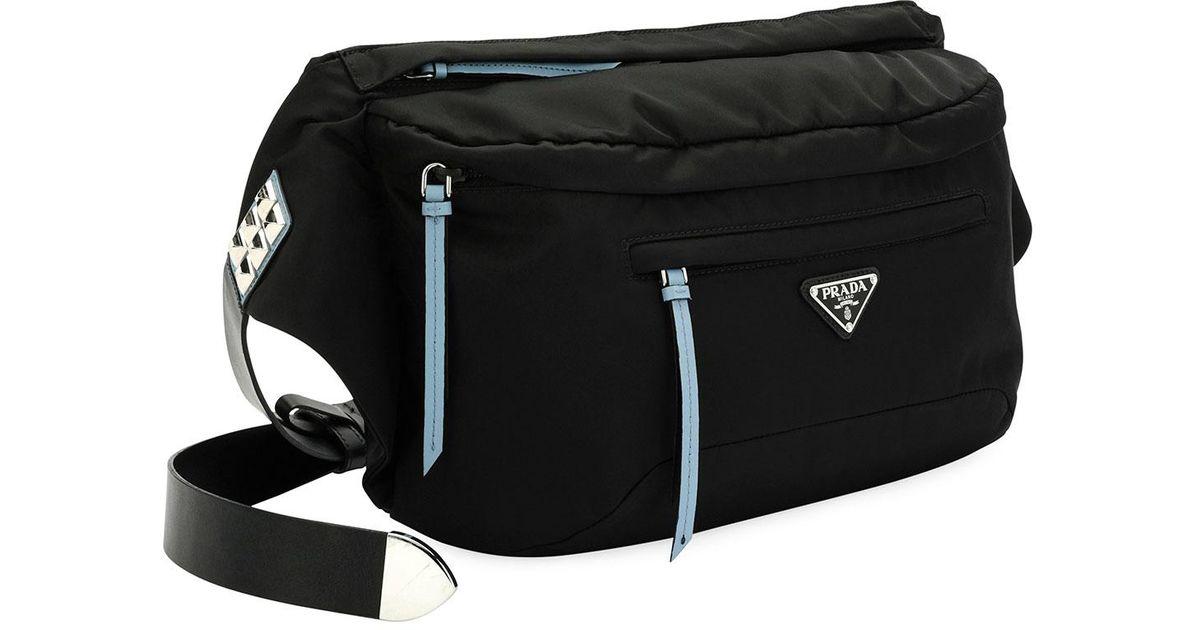 f39630f1885c ... new zealand prada vela nylon square belt bag in black for men lyst  e6c4c 2acde