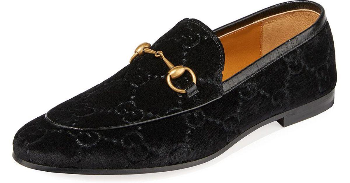 eb94c4ebfa4 Lyst - Gucci Men s Interlocking-GG Velvet Loafer in Black for Men