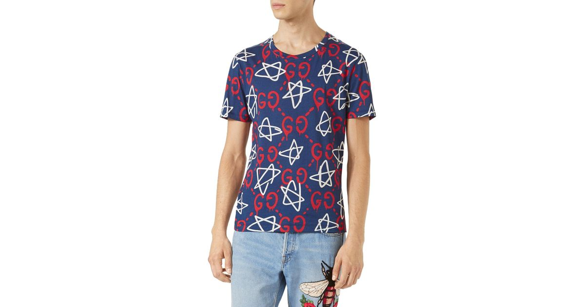 eb4cf658979 Lyst - Gucci Ghost-print Crew-neck T-shirt in Blue for Men