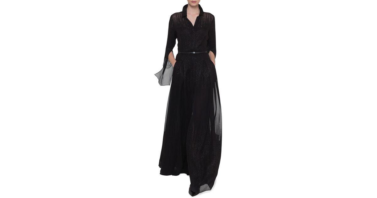 Lyst - Akris Shirt-collar Pleated-skirt Metallic Georgette Evening ...