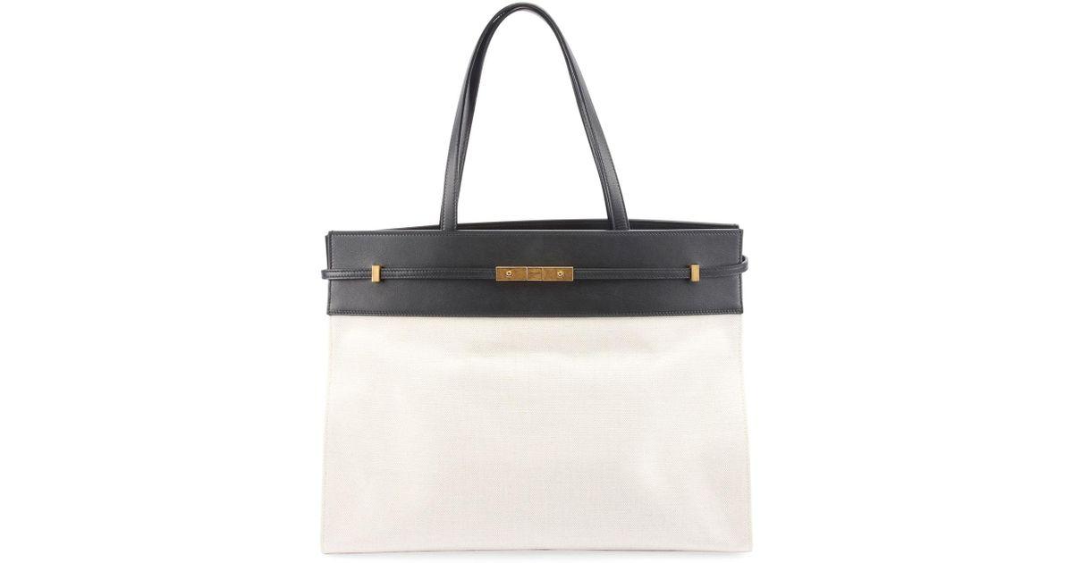 Lyst - Saint Laurent Manhattan Medium Two-tone Canvas leather Tote Bag in  White 7dafaacd43