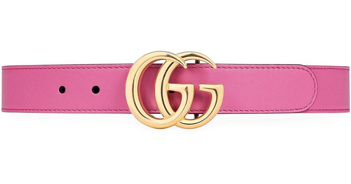 3e554b70d90 Lyst - Gucci Kids  Leather Belt W  Double G Buckle in Pink