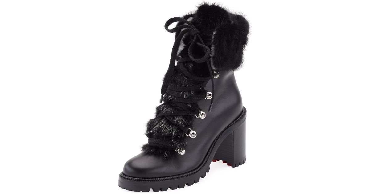 reputable site 5b15b 21237 Christian Louboutin Black Fanny Leather Fur-trim Red Sole Combat Boot