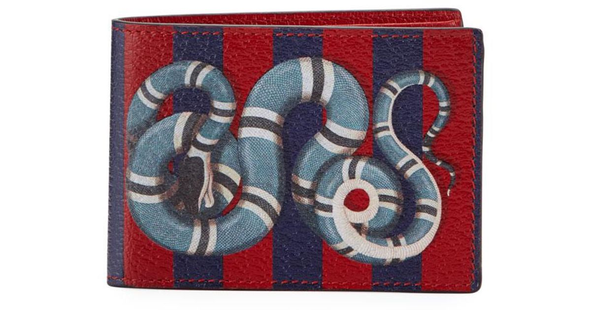 60823d2fb1bb Gucci Snake-print Striped Leather Wallet in Red - Lyst
