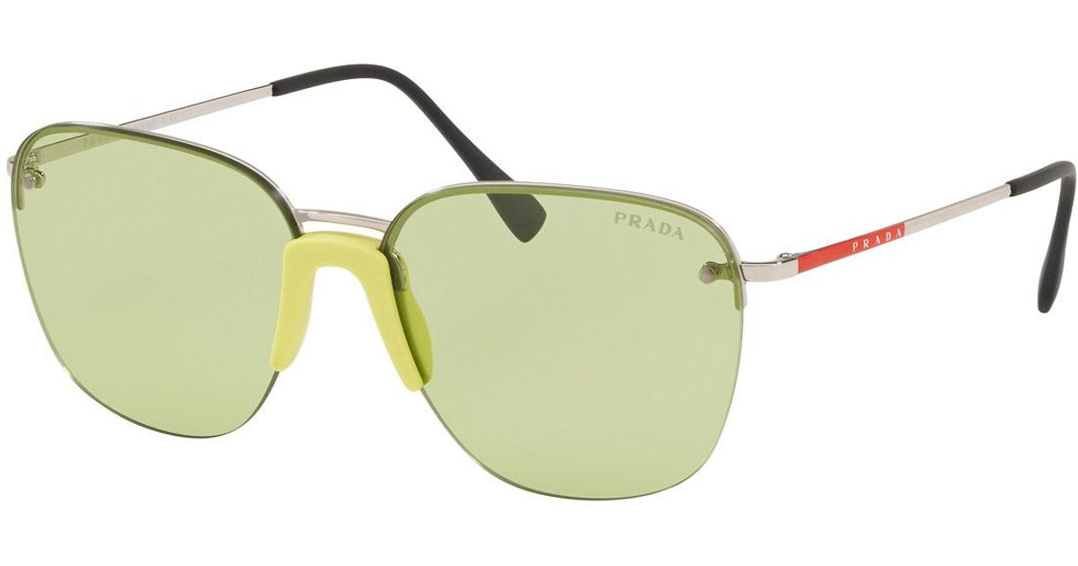 ea58533d41b05 Lyst - Prada Men s Rimless Metal Sunglasses in Green for Men