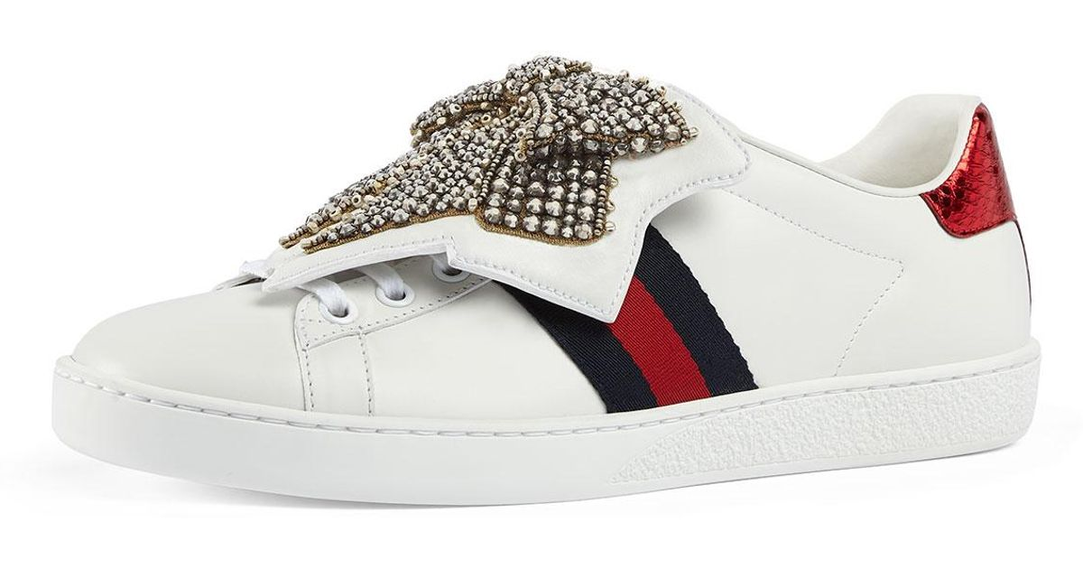 6ff372130c7 Gucci New Ace Crystal Bow Sneakers in White - Lyst