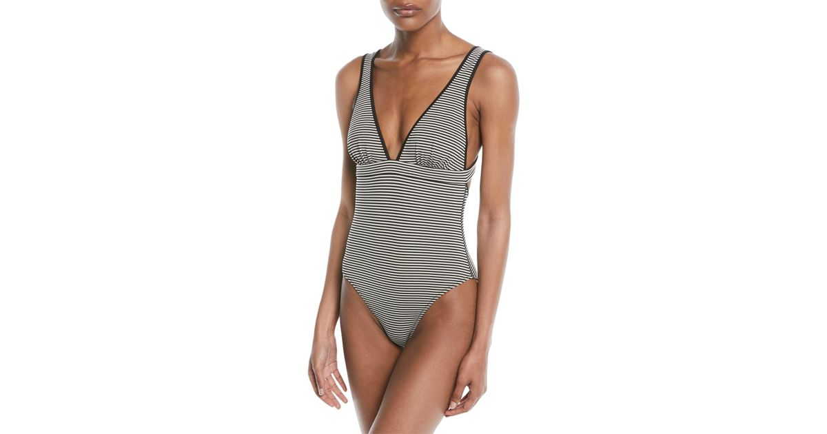052da955d7b Marysia Swim Nassau Striped Maillot Swimsuit in Black - Lyst
