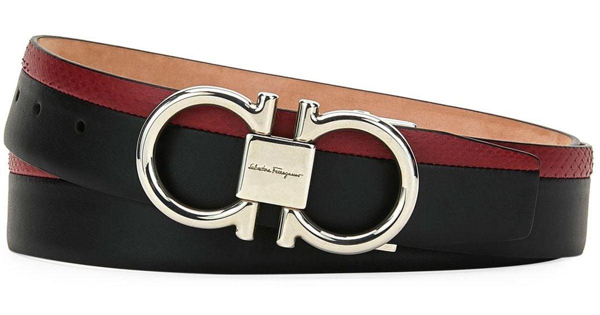 e2270c280da Lyst - Ferragamo Men s Leather snake-print Belt With Gancini Buckle in  Black for Men