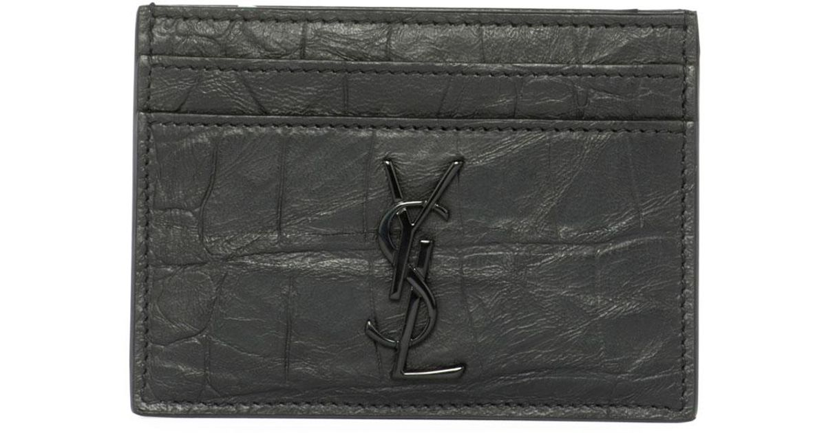 72d6674a7fe Saint Laurent Ysl Monogram Croc-embossed Leather Card Case in Black for Men  - Lyst