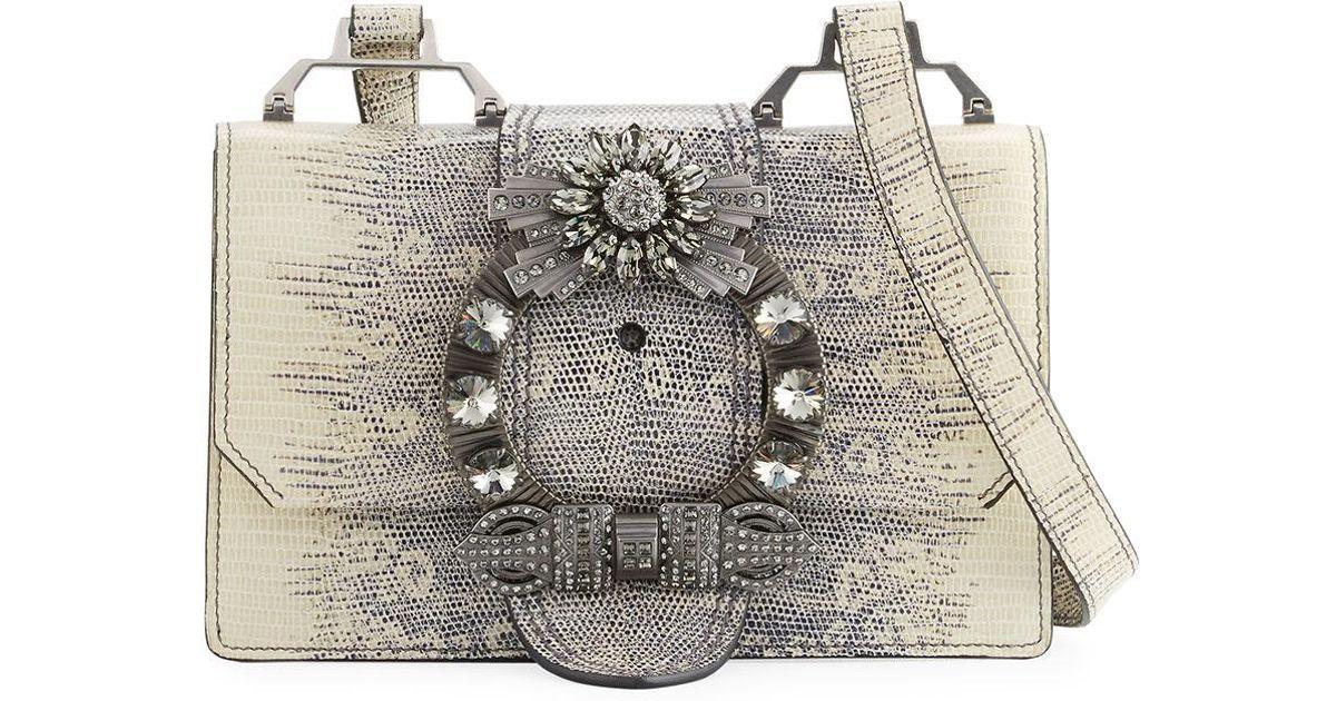 b0132875ee9d Lyst - Miu Miu Lady Jeweled Leather Shoulder Bag
