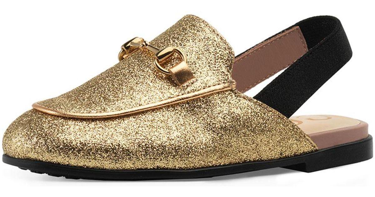 0fcfe1f8d Lyst - Gucci Princetown Glittered Horsebit Mule Slide in Metallic