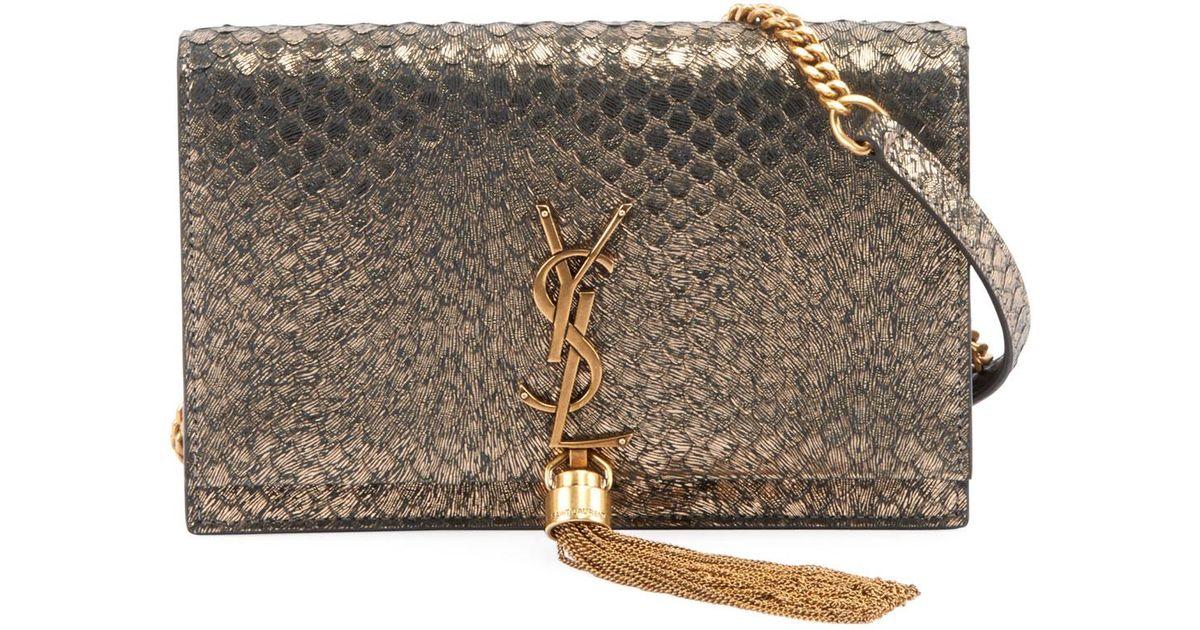 d85ecc5f9805 Saint Laurent Kate Monogram Ysl Small Python-effect Tassel Wallet On Chain  - Golden Hardware - Lyst
