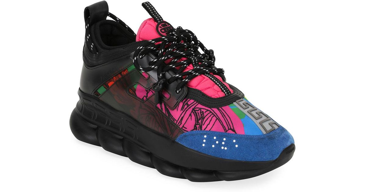 Versace Black And Multicoloured Chain Reaction Sneakers for men