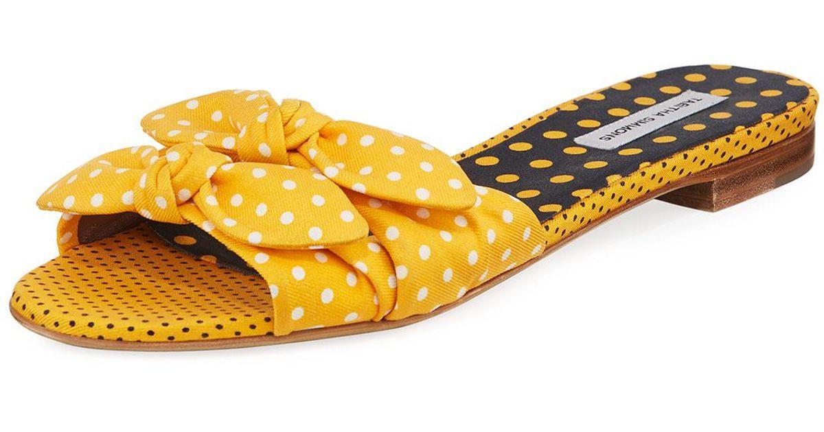 71de33ab0cee9 Tabitha Simmons Cleo Polka-dot Bow Flat Slide Sandal in Yellow - Lyst