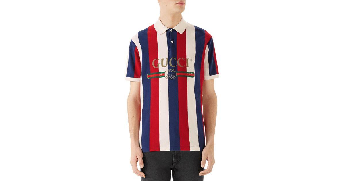 129c809e09e2e Lyst - Gucci Men s Striped Piqué Polo Shirt in Blue for Men