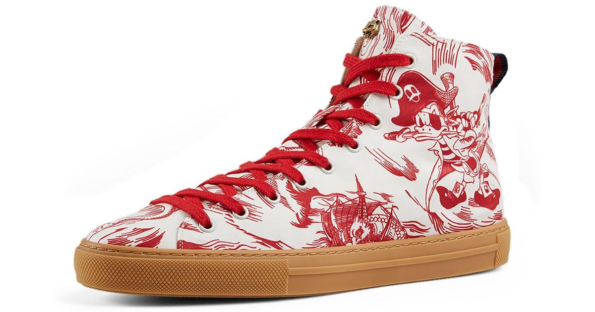 fd1c5f5b355 Lyst - Gucci Sea Storm Print High-top Sneaker in Red for Men