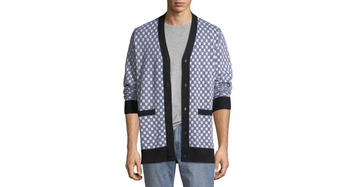 af0395ad74ffab Lyst - Ovadia And Sons Men's Checkerboard Pocket Cardigan in Blue for Men