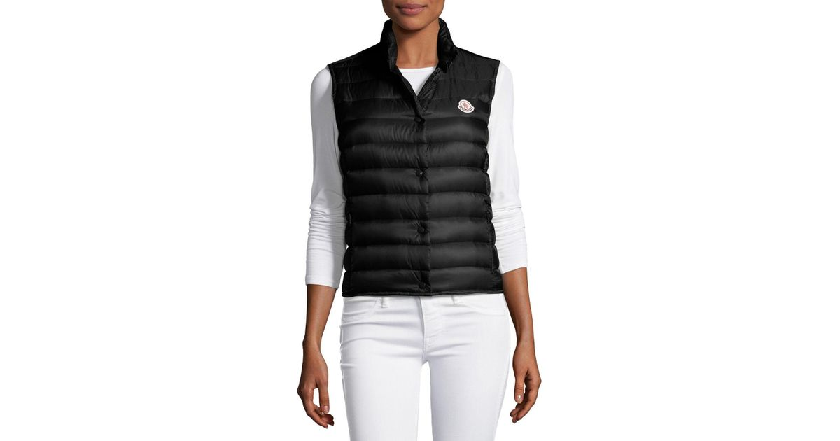Lyst - Moncler Liane Quilted Down Gilet in Black - Save 13.043478260869563%