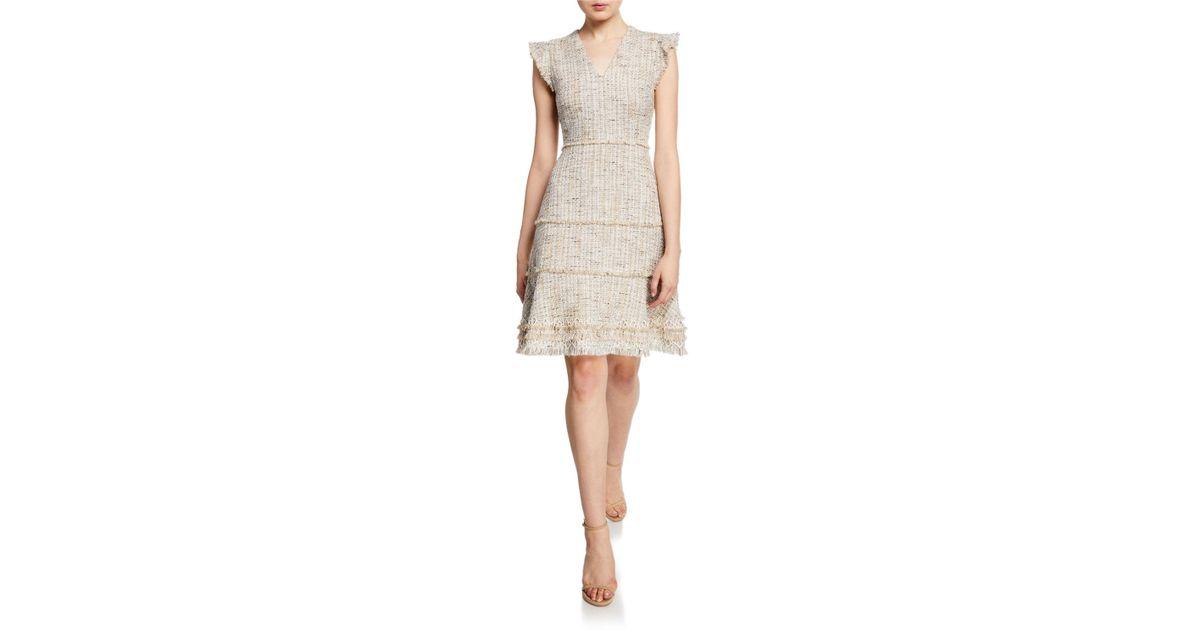 699da61a3fd7e Lyst - Elie Tahari Loraine Metallic Tweed Dress in Natural