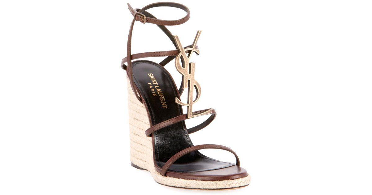 82856aafe19 Saint Laurent Brown Cassandra Ysl Logo Wedge Sandal