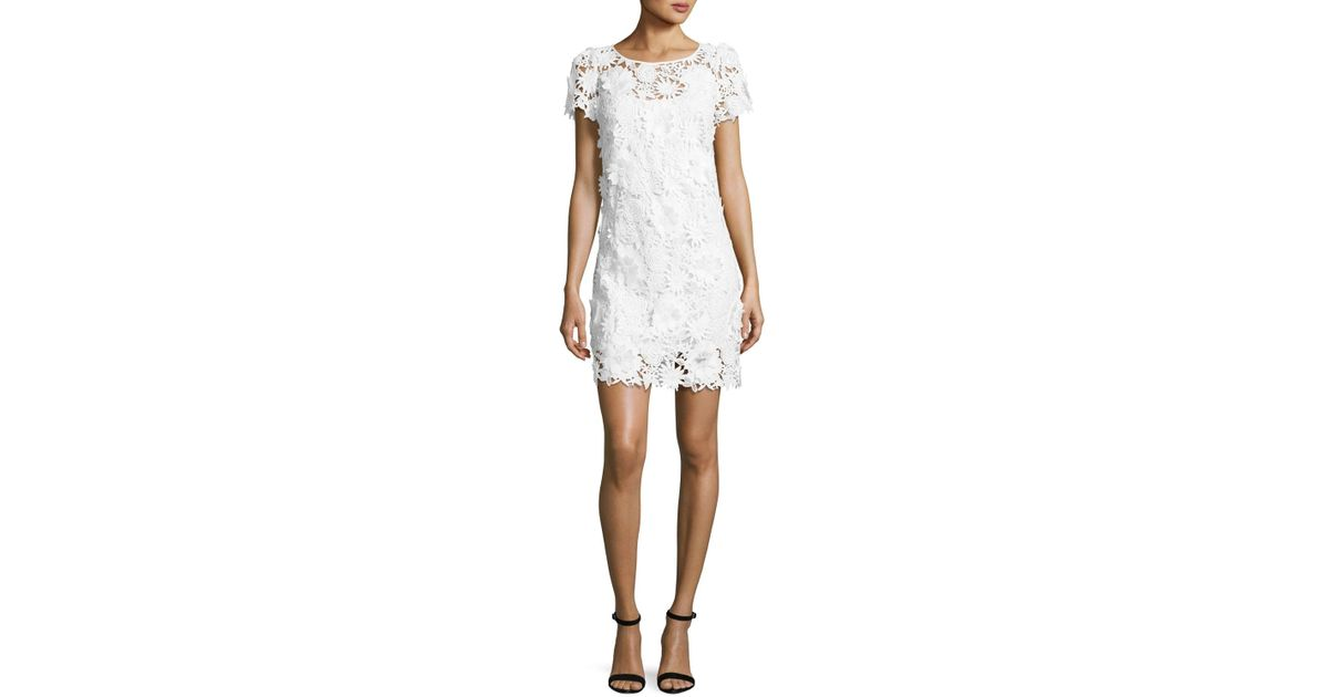 Milly White Chloe Short Sleeve 3d Floral Embroidered Lace Dress