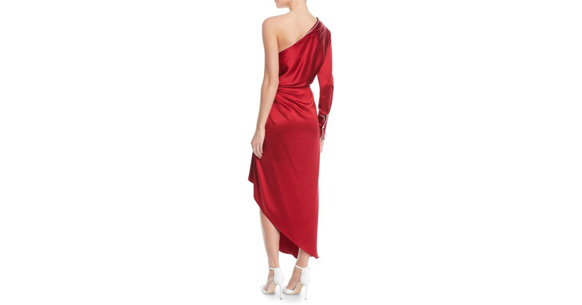 b40b1a47e4d1 Lyst - Monse One-shoulder Long-sleeve Silk Pajama Gown W  Piping in Red