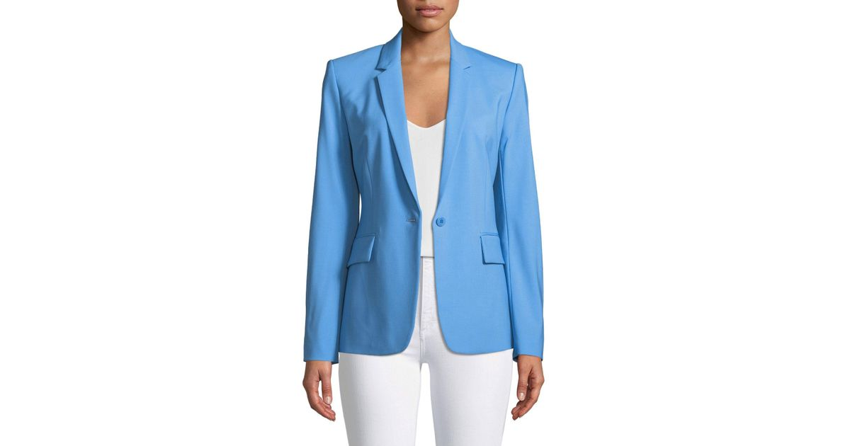 42b5430bf0 Lyst - Theory Essential One-button Stretch-wool Jacket in Blue