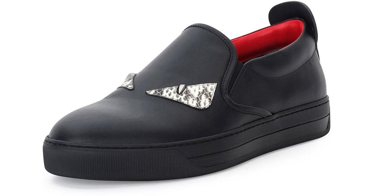 df87d7df26fc97 Lyst - Fendi Men s Monster Eyes Leather Slip-on Sneakers in Black for Men