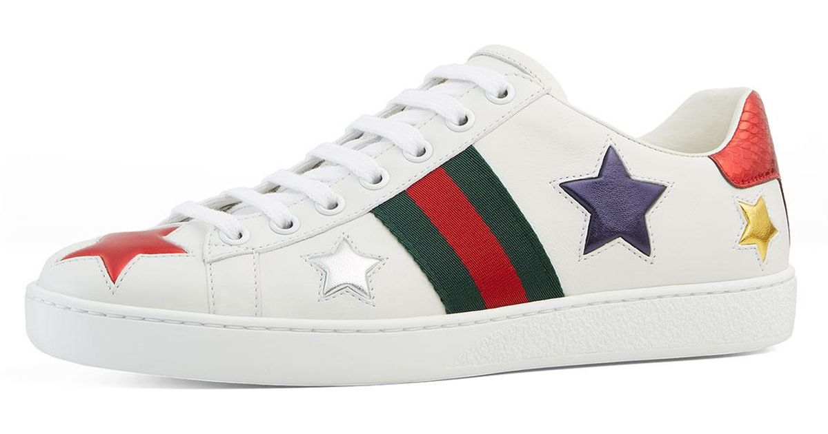 be34f376498 Lyst - Gucci New Ace Star Leather Sneaker in White