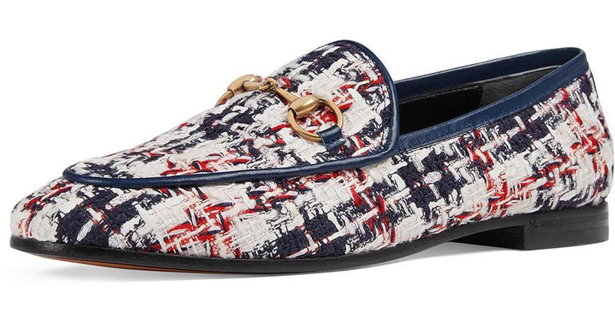 856be0fcb7e Lyst - Gucci Jordaan Tweed Check Loafers in Blue