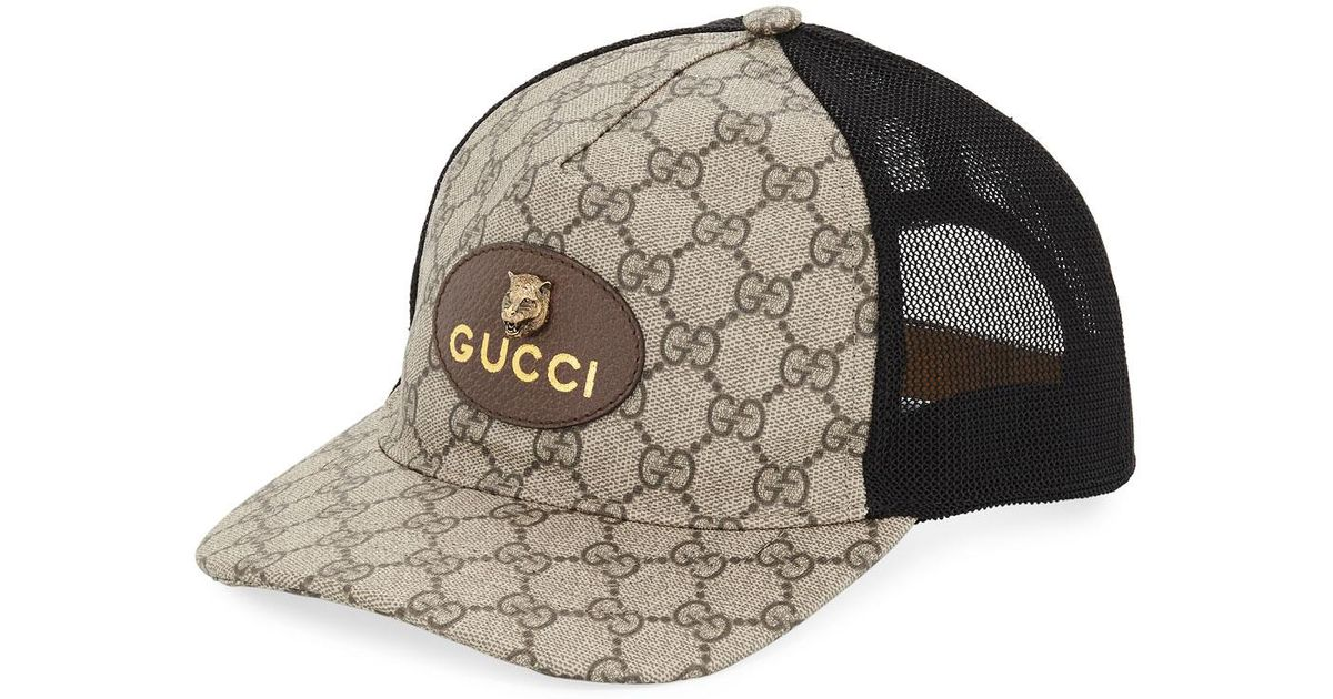 00396bd42 Gucci Black GG Supreme Baseball Cap With Feline Head for men