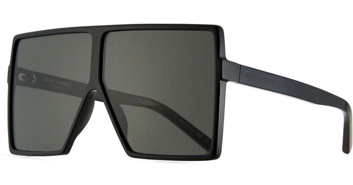 f8d3767358 Lyst - Saint Laurent 183 Betty Flat-top Square Shield Sunglasses in Black