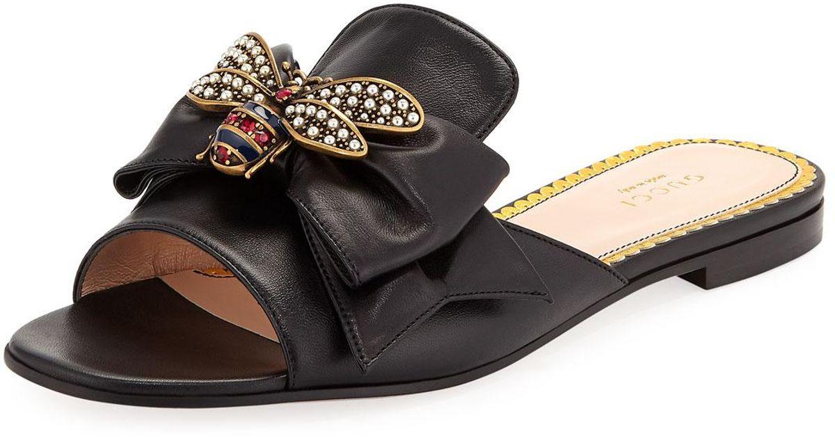 Gucci Leather Embellished Bee Slide