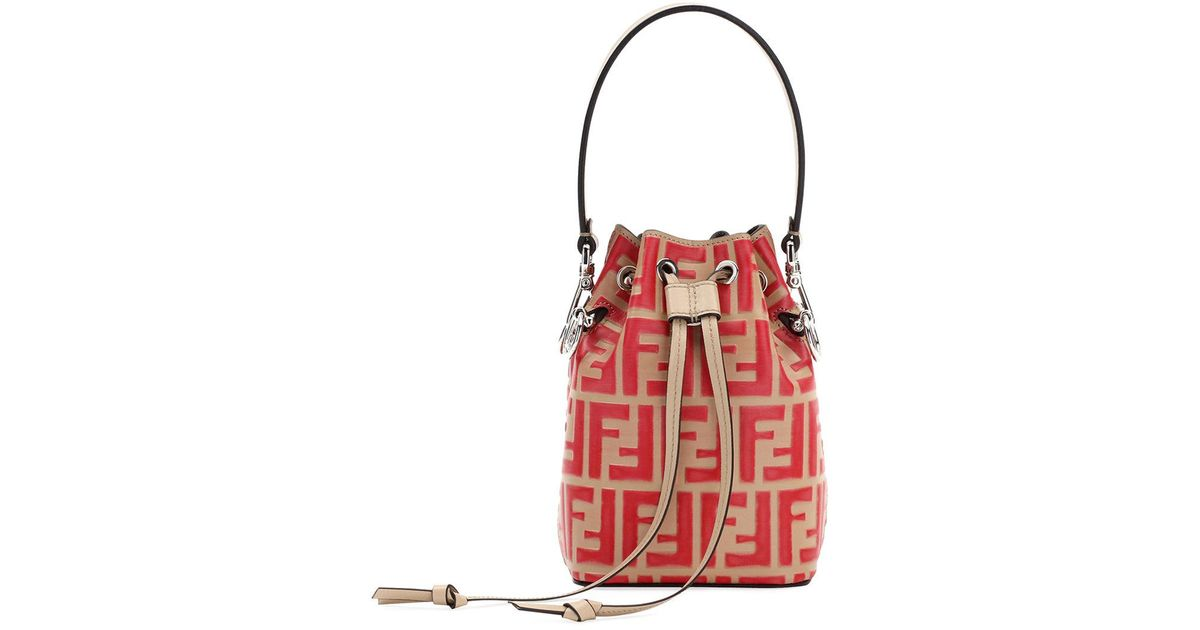3521ea18f39f Lyst - Fendi Mon Tresor Small Ff Bucket Bag in Red
