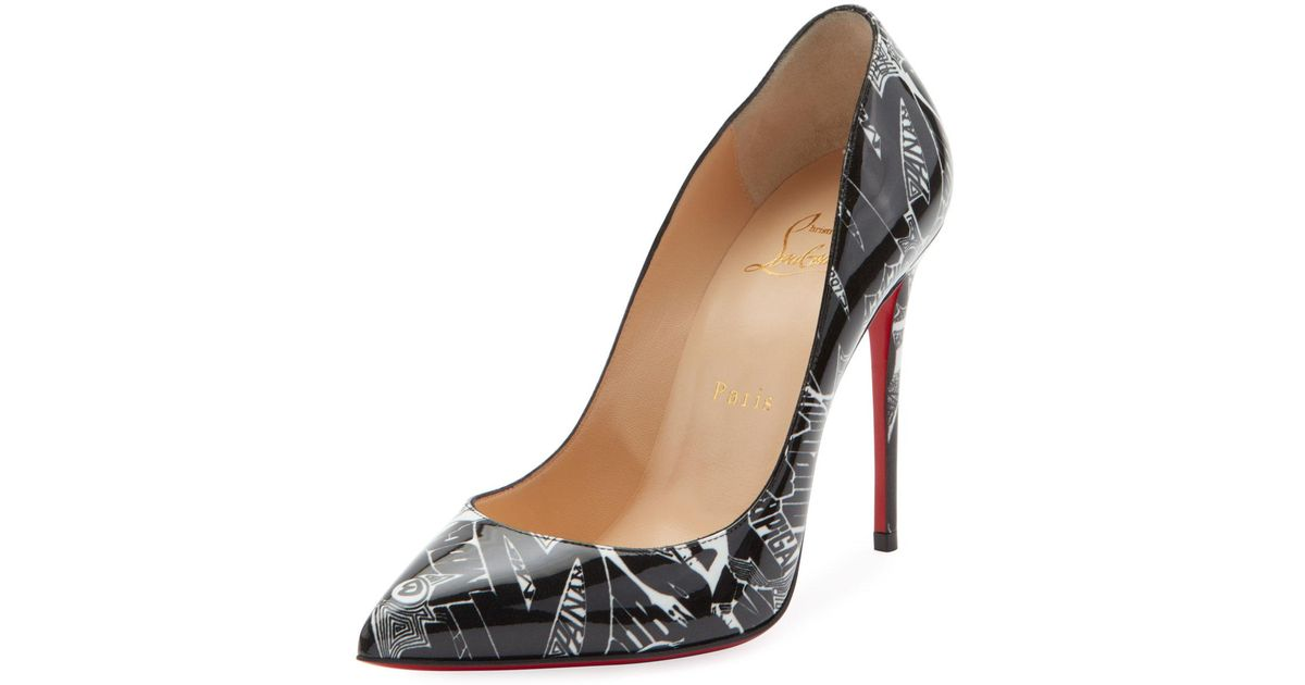 a74d453f672 Lyst - Christian Louboutin Pigalle Follies 100mm Patent Nicograf Red Sole  Pumps in Black