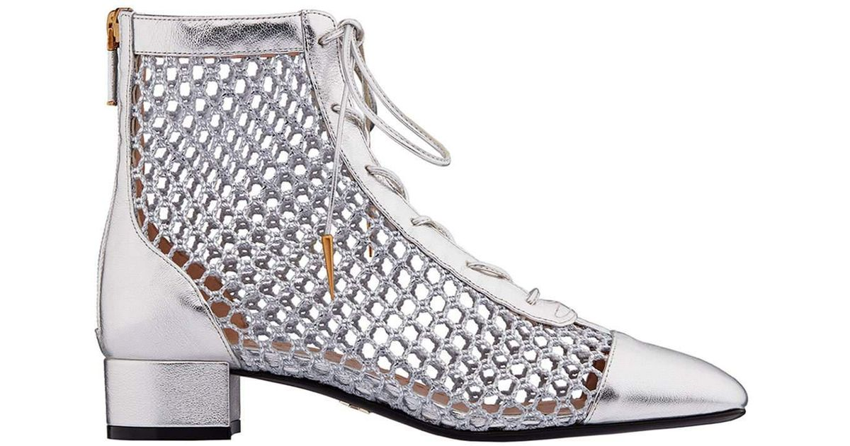 245504c42c Dior Metallic Naughtily-d Laminated Lambskin & Mesh Ankle Bootie