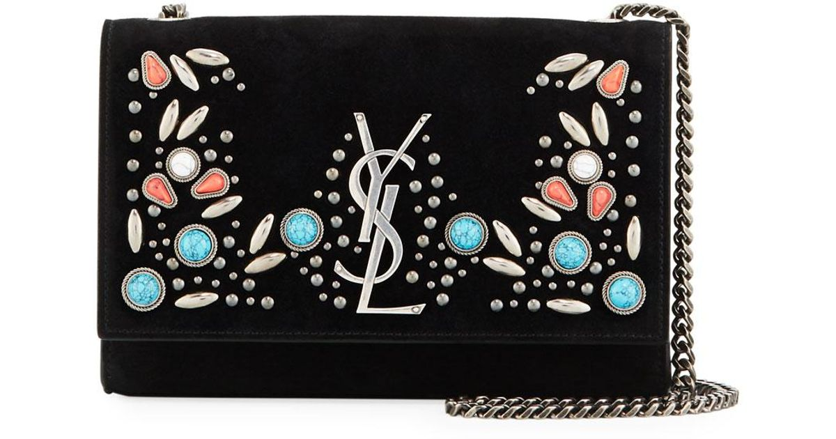 561f21af34 Saint Laurent Black Kate Monogram Small Stone-studded Suede Shoulder Bag
