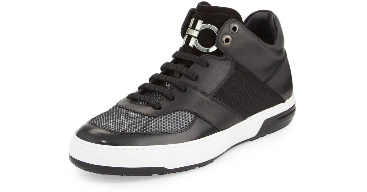 c4124bbca9225 Lyst - Ferragamo Monroe 3 Men s Mixed Media Mid-top Sneaker in Black for Men